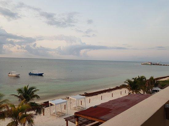 Hotel Hacienda Morelos: From third floor terrace overlooking restaurant and beach