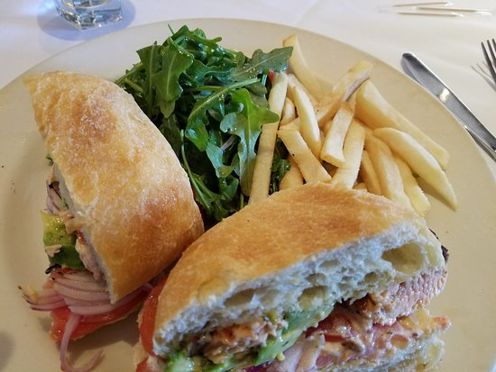 Corte Madera, CA: Salmon Sandwich with fries