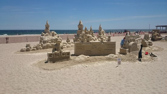 Hampton Beach: sand sculpture on beach