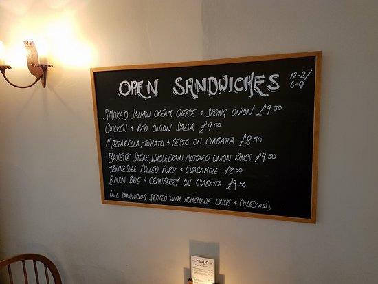 Fotheringhay, UK: Open Sandwich menu on the day we visited.