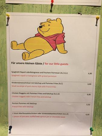 Rohrmoos-Untertal, Österreich: Kids' Menu as of April 2018