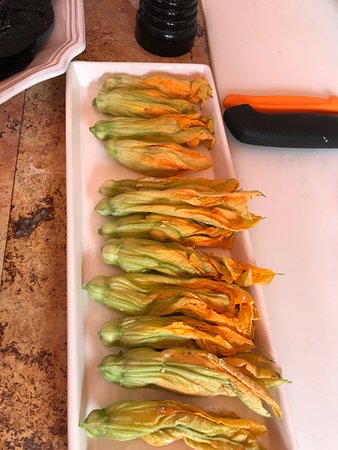Cooking Classes with Paco Cardenas: Squash blossoms stuffed with goat cheese