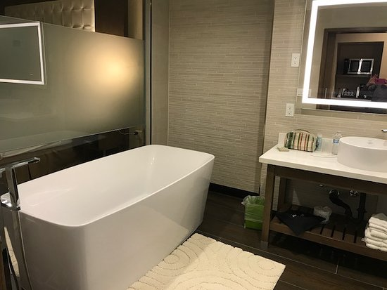 Wyndham Garden Anaheim: Huge tub (fine for 2 ppl - one who is 6 ft 5 in). The faucet and hand-held sprayer are odd desig