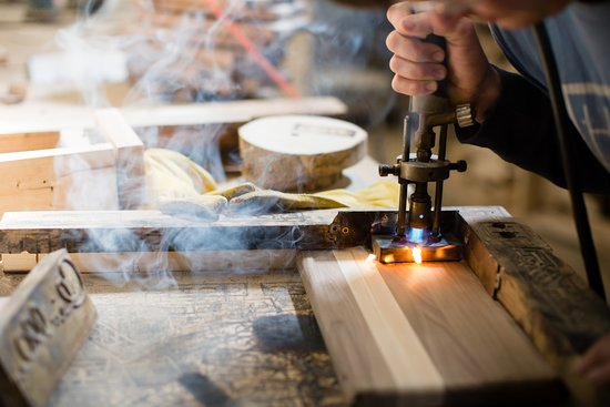 Walnut Striped Cutting Board In Production Picture Of Harp Design