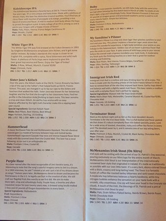 McMenamins Old St. Francis School: Beer Menu!