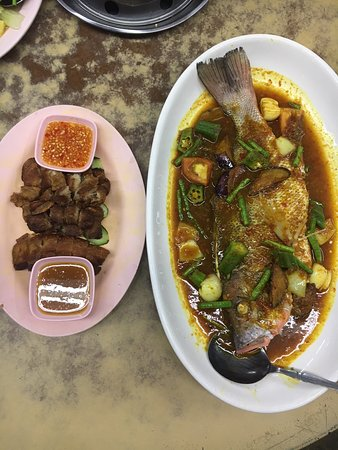Perak, Malaysia: Deep Fried Salted Pork Belly and Assam Fish