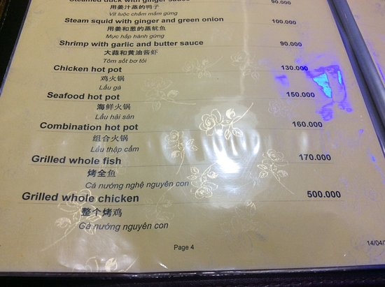 Ram Springrolls Restaurant Grilled Whole Fish On Menu Listed As 170 000 Vnd Charged Us