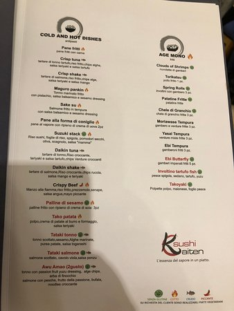 Sushi Kaiten menu