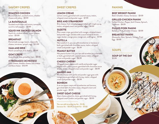 La Crepe Cafe Menu
