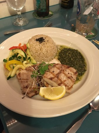 Seaside Restaurant: Grilled Mahimahi Entree w/ Brown Rice Selection