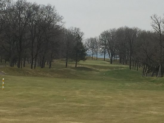 Fort Ripley, MN: Par 5 down hill to somewhat elevated green