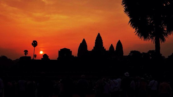 Siem Reap Province, Cambodia: Sunset at Angkor wat View