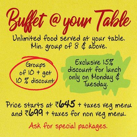 Salt- Indian Restaurant, Bar & Grill: Buffet @ your table