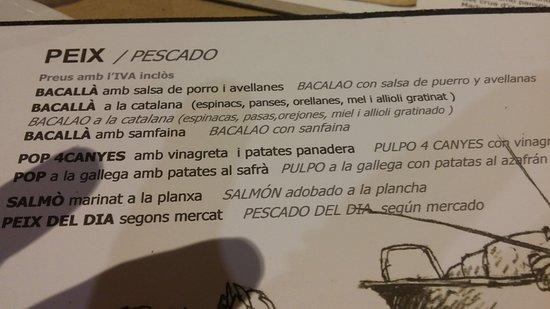 El Papiol, Spain: carta