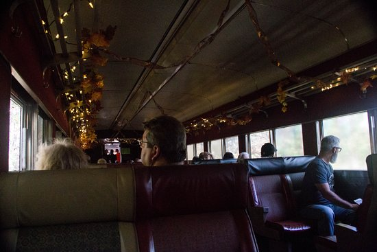 Shokan, NY: The inside of the train with smudgy windows.