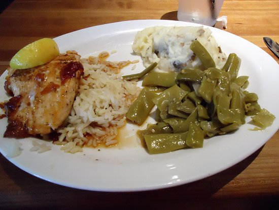 Cheddar's Scratch Kitchen : Grilled Salmon with Bourbon glaze - mashed potato- green beans Grilled Salmon Lunch:$9.29Dinner: