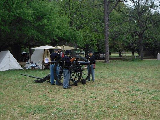 Newcastle, TX: Authentic replica cannon presentation in period costumes circa 1859-1863