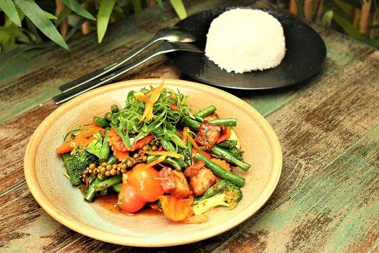 Phrik Khing Crispy Pork Thai Style Stir fry and Rice - Picture of