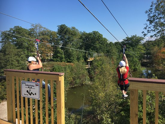 Lake Erie Canopy Tours: We raced on the double ziplines!!