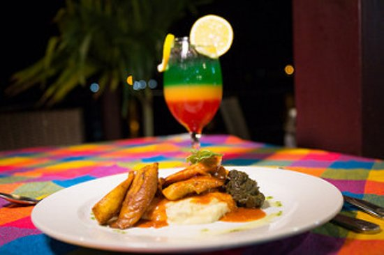 Dodgy Dock Restaurant and Lounge Bar: Local Chicken Dish with Callaloo