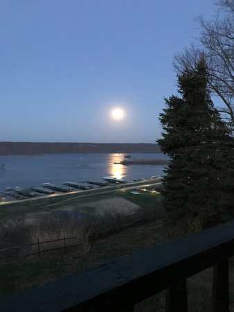 Guttenberg, IA: View of the full moon over the river from the deck.