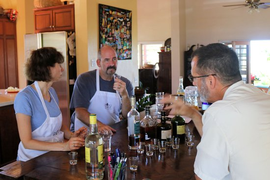 Nicole's Table: Mark, Elizabeth, and Adam during the rum tasting part of the class.  #Antigua #Thingstodo