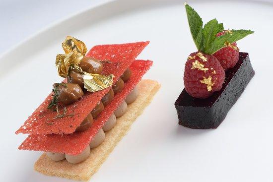 Raspberry Pate de Fruit, Bitter Chocolate Cremeauc Millefeuille