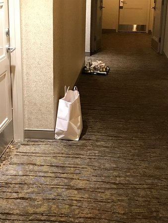 The Westin New York Grand Central: typical debris in halls in the morning.