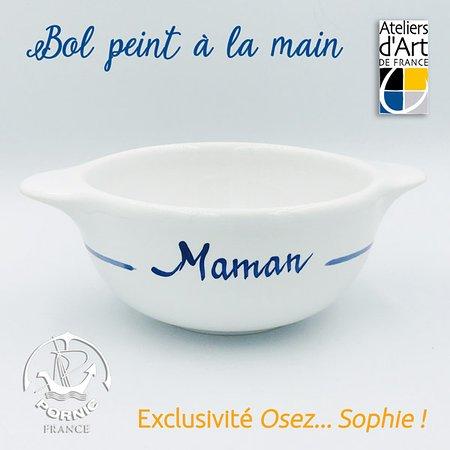 """Saint Martin de Re, France : Bol tradition à oreilles peint à la main """"Maman"""" + dessin âne bleu Île de Ré"""