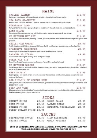 Our Ala Carte Menu Picture Of My Kitchen Gourock