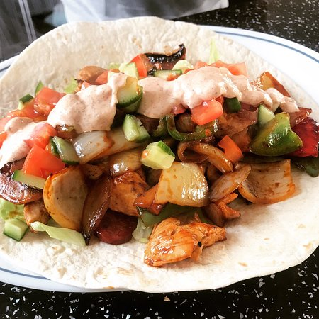 West Timperley, UK: Chicken chorizo kebab home made hot sauce