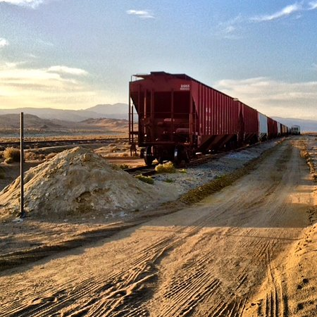 Trona Pinnacles: In return from the Pinnacles, this train will be on your right.