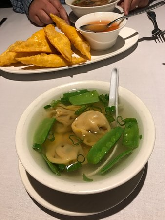 Bristol, RI: Won ton soup and rangoons (cold)