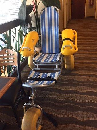 Desoto Beach Hotel: Beach wheelchair borrowed from Tybee Island FD
