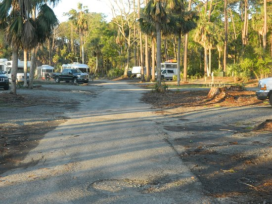 Hunting Island State Park Campground: Campground road closest to park entrance road