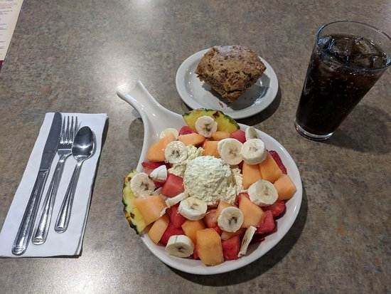 Grandville, MI: Fresh Fruit and Chicken Salad, served with a Muffin
