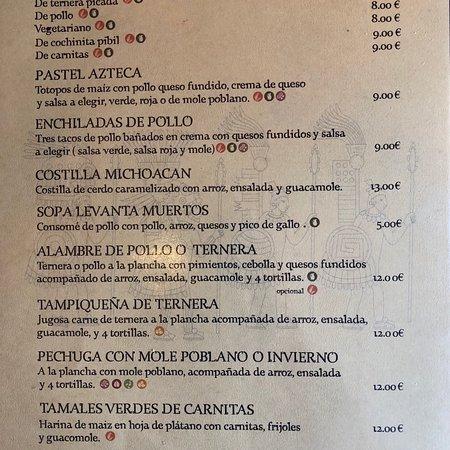 Colombres, Spain: Nuestra carta 2018!!