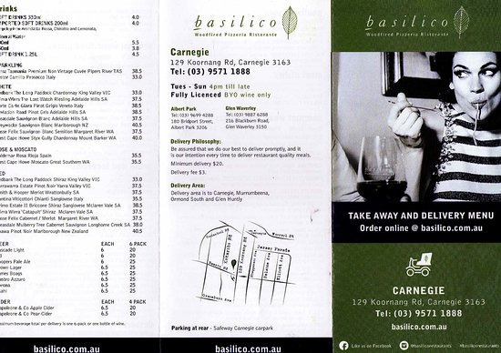 Basilico: Take away and delivery menu 1
