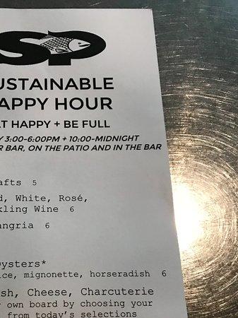 Southpark Seafood: Happy hour menu