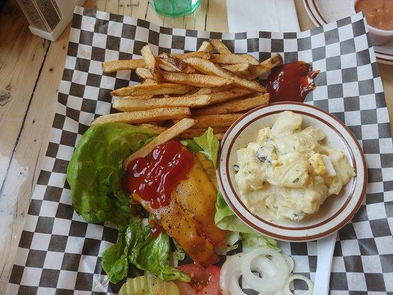 Scipio, UT: The Maple Grove burger (minus the bun) for the mrs.