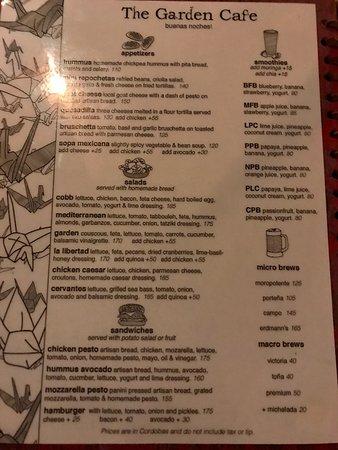 The Garden Cafe: Menu (p1 of 2)