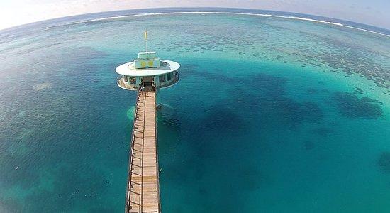 フィッシュアイマリンパーク海中展望塔, Aerial shot of Fish Eye Underwater Observatory