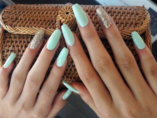 Beautiful and glittery acrylic nail extensions... - Picture of The ...