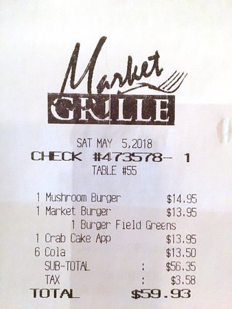 Market Grille: we weren't aware that we would be charged for each soda brought to us