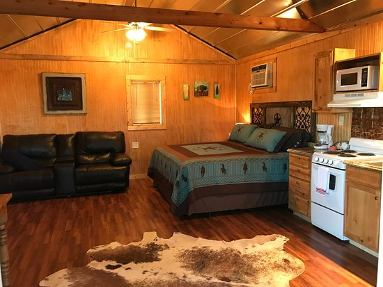 Walnut Canyon Guest Cabins: Kitchen and main room Milky Way Cabin! w/ Heater/AC unit