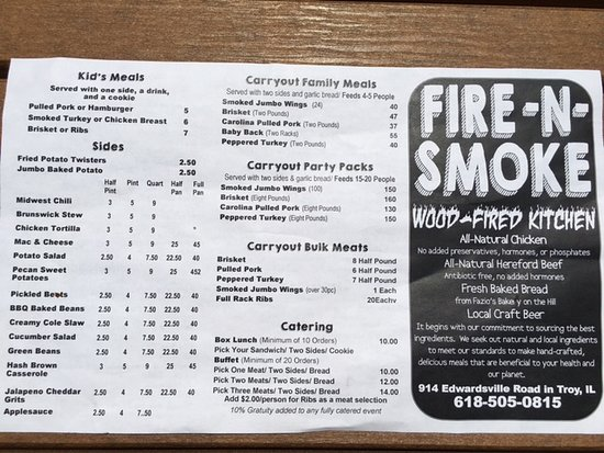 Troy, IL: Fire N Smoke Menu