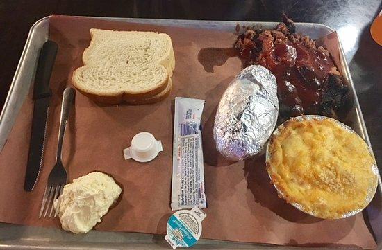 Troy, IL: Fire N Smoke brisket, potato and Mac & Cheese