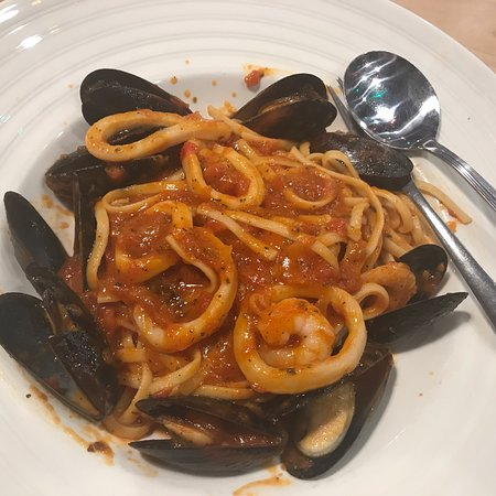 Spicy sausage and seafood pasta