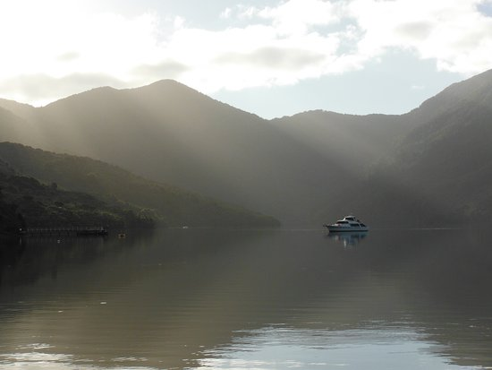 Endeavour Inlet, New Zealand: Looking from Mahana Lodge into the bay.