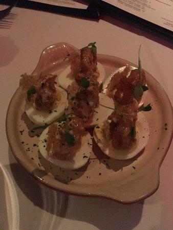 Steak 44: deviled eggs with crispy shrimp